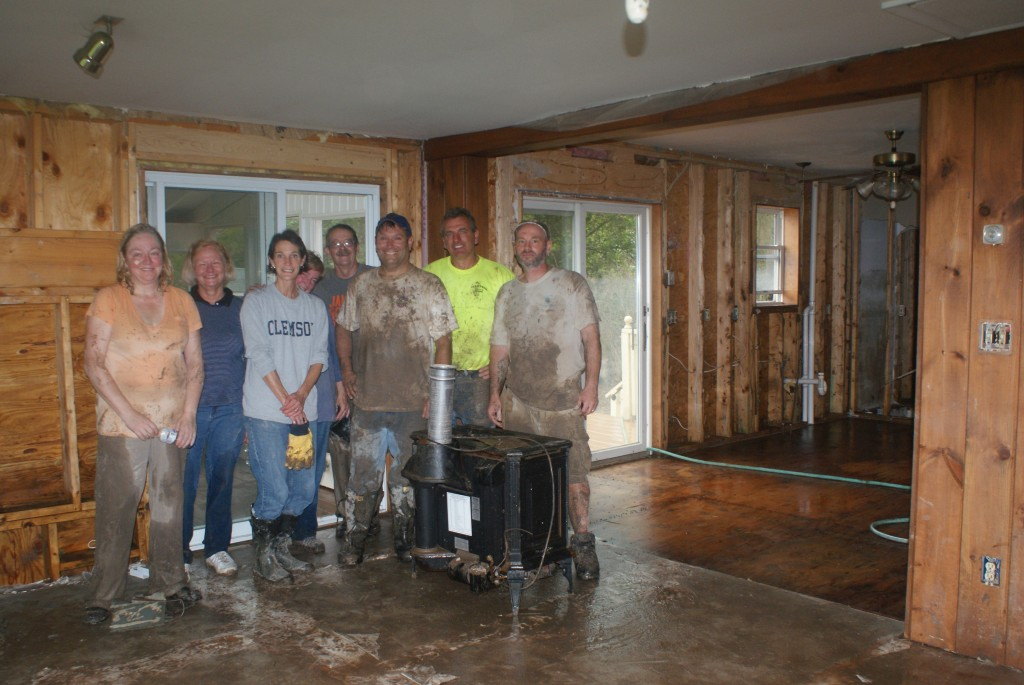 Cleaning a flood-ravaged home is dirty work!